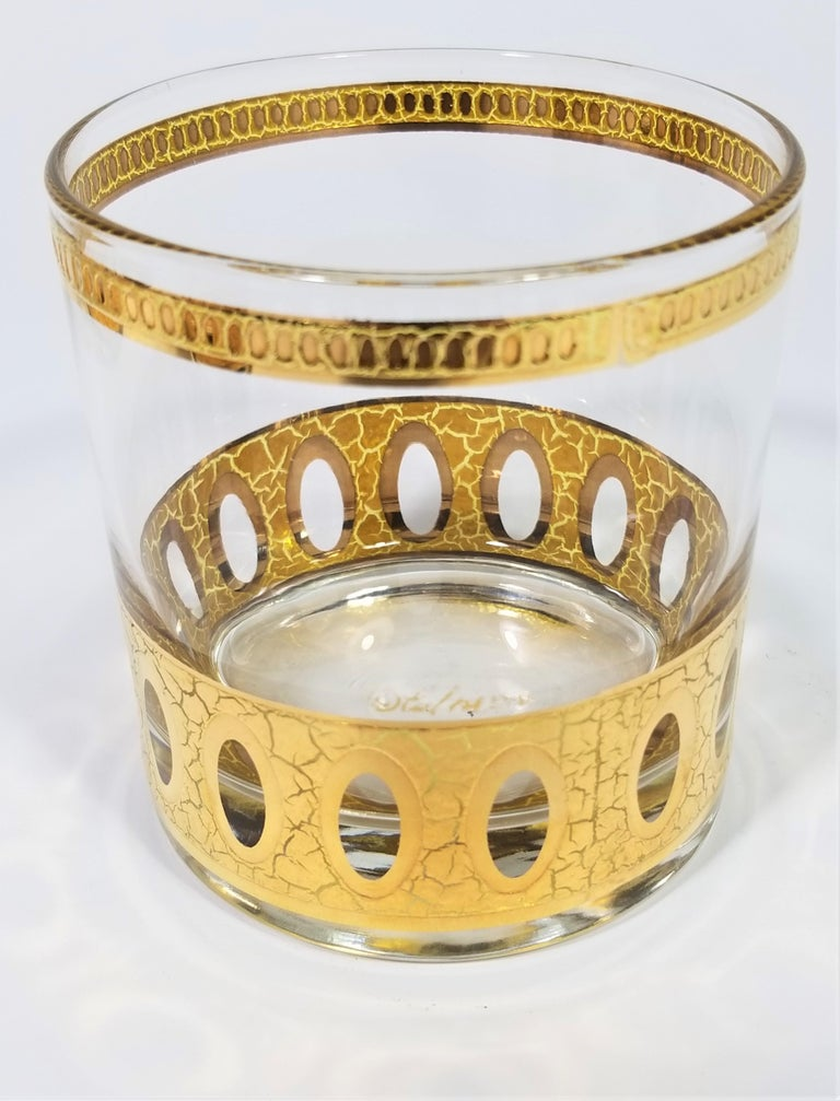 Culver 22-Karat Gold Signed Glassware Barware Midcentury Set of 4 For Sale 3
