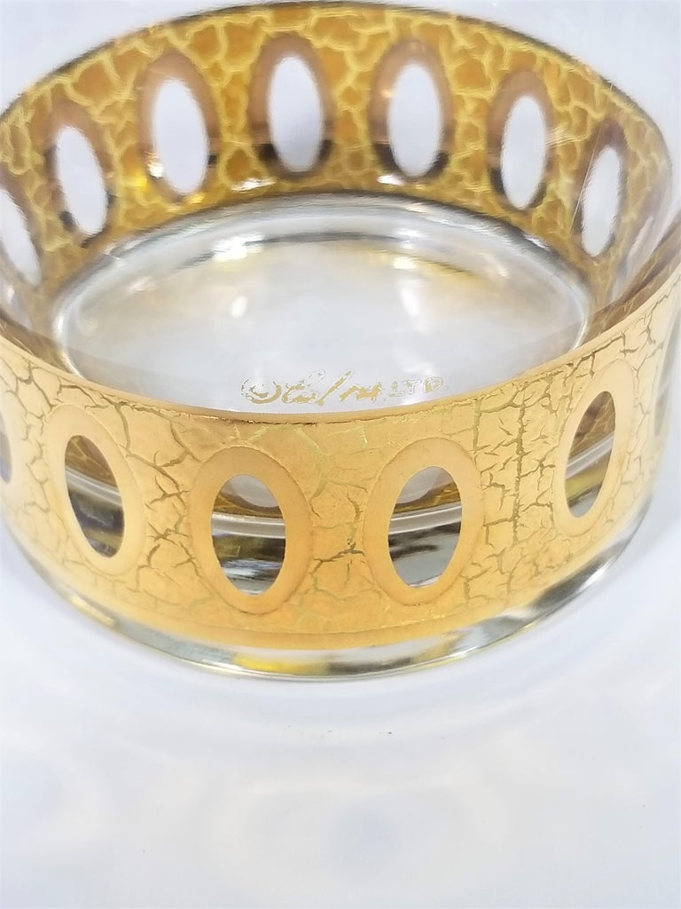 Culver 22-Karat Gold Signed Glassware Barware Midcentury Set of 4 For Sale 5