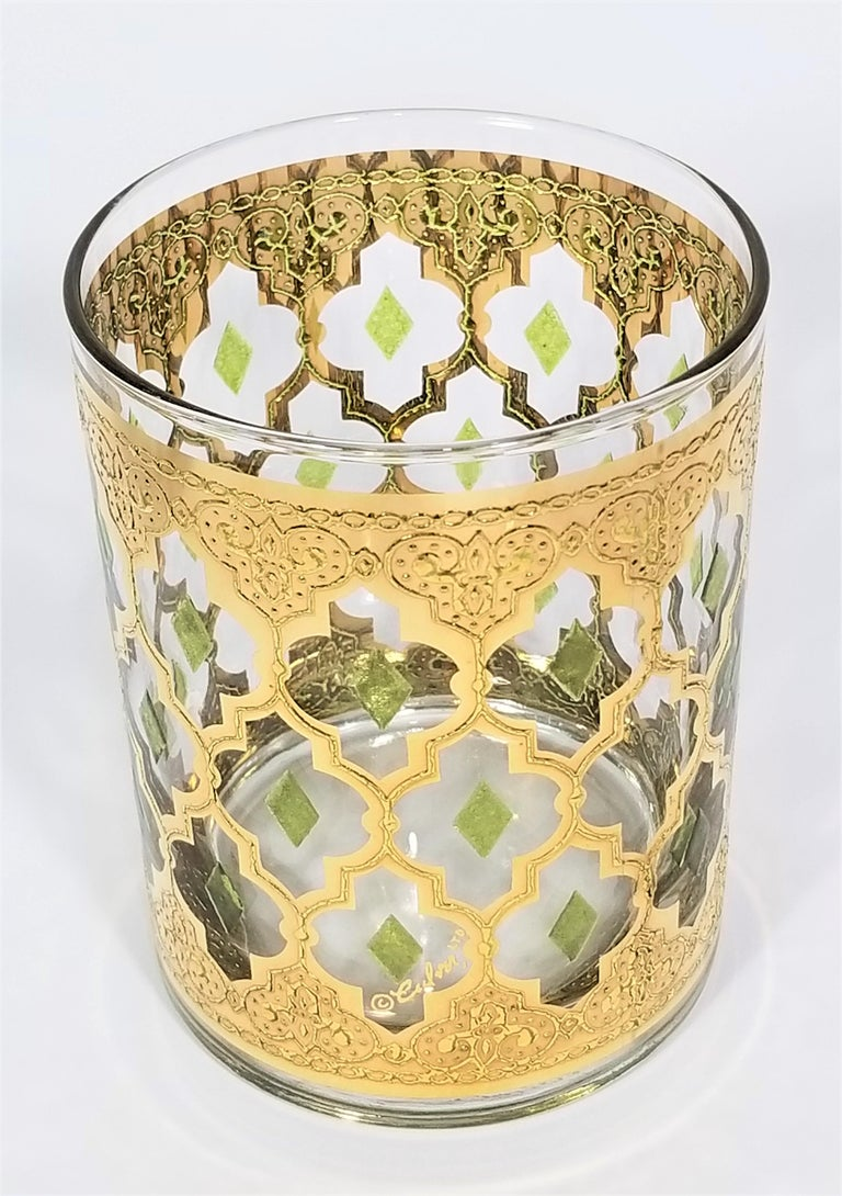 Culver 22k Gold Signed Mid Century 1960s Glassware Barware For Sale 7