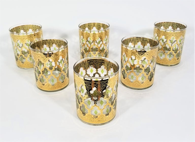 Culver 22k Gold Signed Mid Century 1960s Glassware Barware For Sale 9