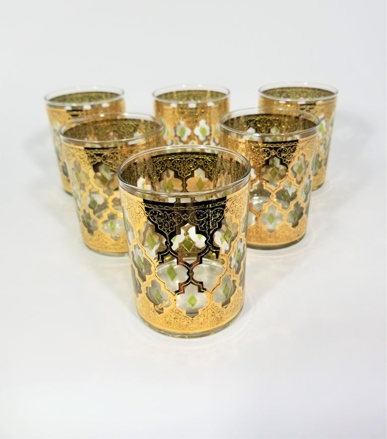 Mid century 1960s signed Culver 22k gold Glassware barware. Set of 6. All glasses are signed Culver.
