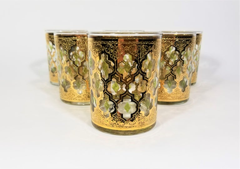 Culver 22k Gold Signed Mid Century 1960s Glassware Barware In Excellent Condition For Sale In New York, NY