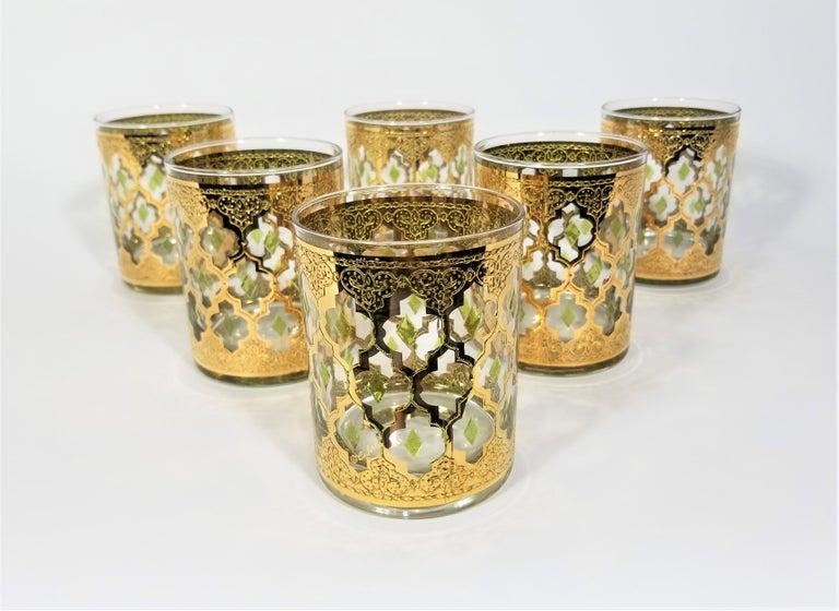 20th Century Culver 22k Gold Signed Mid Century 1960s Glassware Barware For Sale