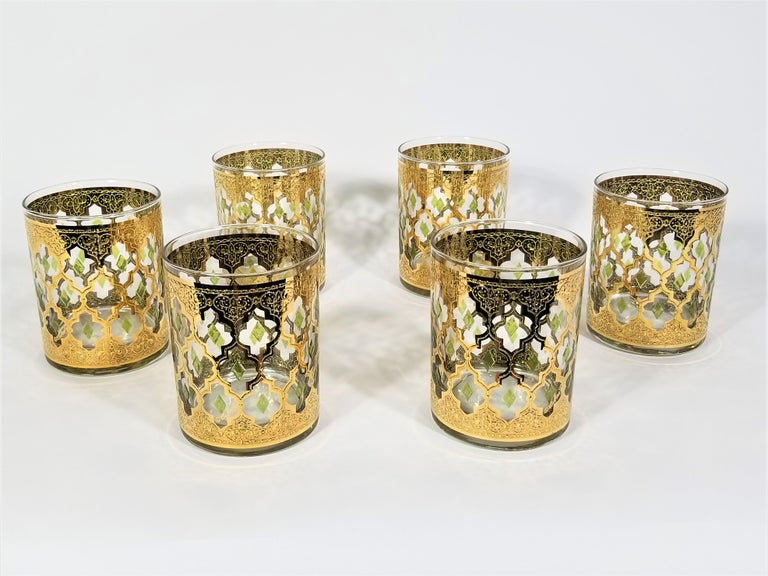 Culver 22k Gold Signed Mid Century 1960s Glassware Barware For Sale 2
