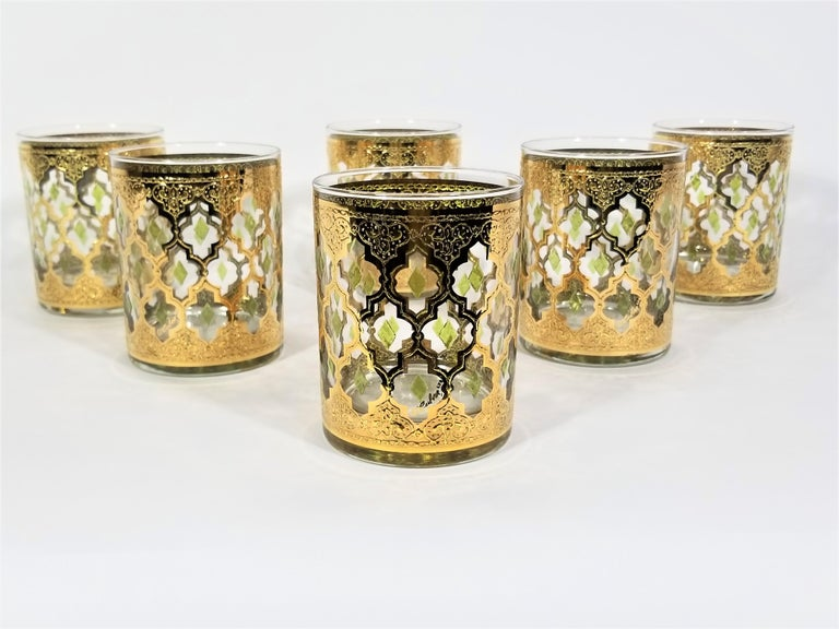 Culver 22k Gold Signed Mid Century 1960s Glassware Barware For Sale 3