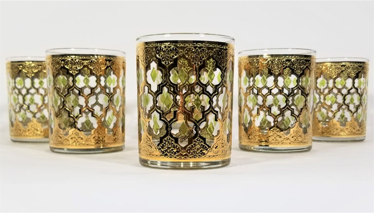 Culver 22k Gold Signed Mid Century 1960s Glassware Barware For Sale 4