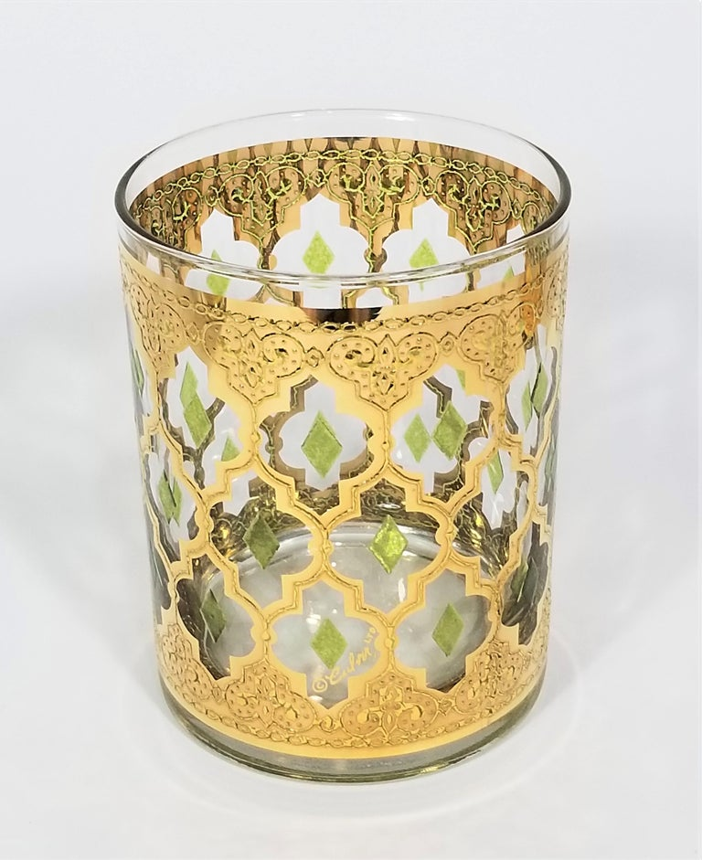 Culver 22k Gold Signed Mid Century 1960s Glassware Barware For Sale 5