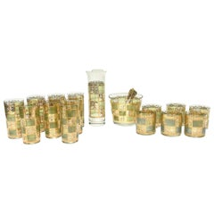 Culver Glass and Gold Painted Barware Set Mid-Century Modern