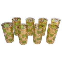 Culver Highball Green Glasses with 22-Karat Gold Prado Design