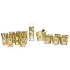 Culver Mid-Century Modern Glass and Gold Painted Barware Set