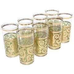 Culver Mid-Century Modern Signed Highballs Glass Barware Mid-Century Modern