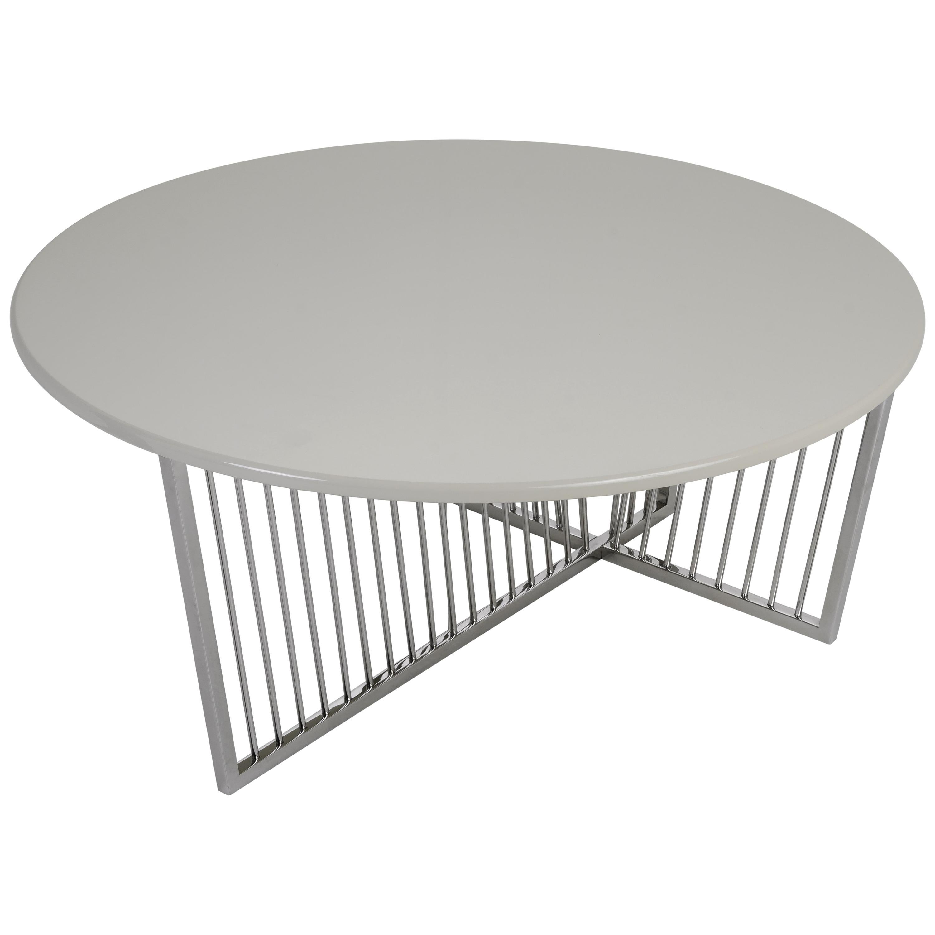 Cume Round Coffee Table with Brushed Stainless Steel Base