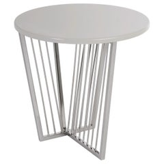 Cume Round Side Table with Polished Stainless Steel Base
