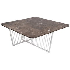 Cume SQ Coffee Table with Marble Top and Polished Stainless Steel Base