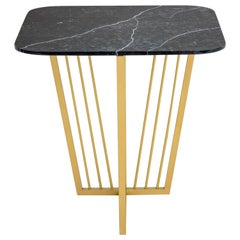 Cume SQ Side Table with Antique Brass Base and Negro Marquina Marble Top