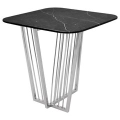 Cume SQ Side Table with Stainless Steel Base and Negro Marquina Marble Top