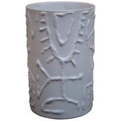 Cuno Fischer Porcelain Vase with Abstract Relief for Rosenthal