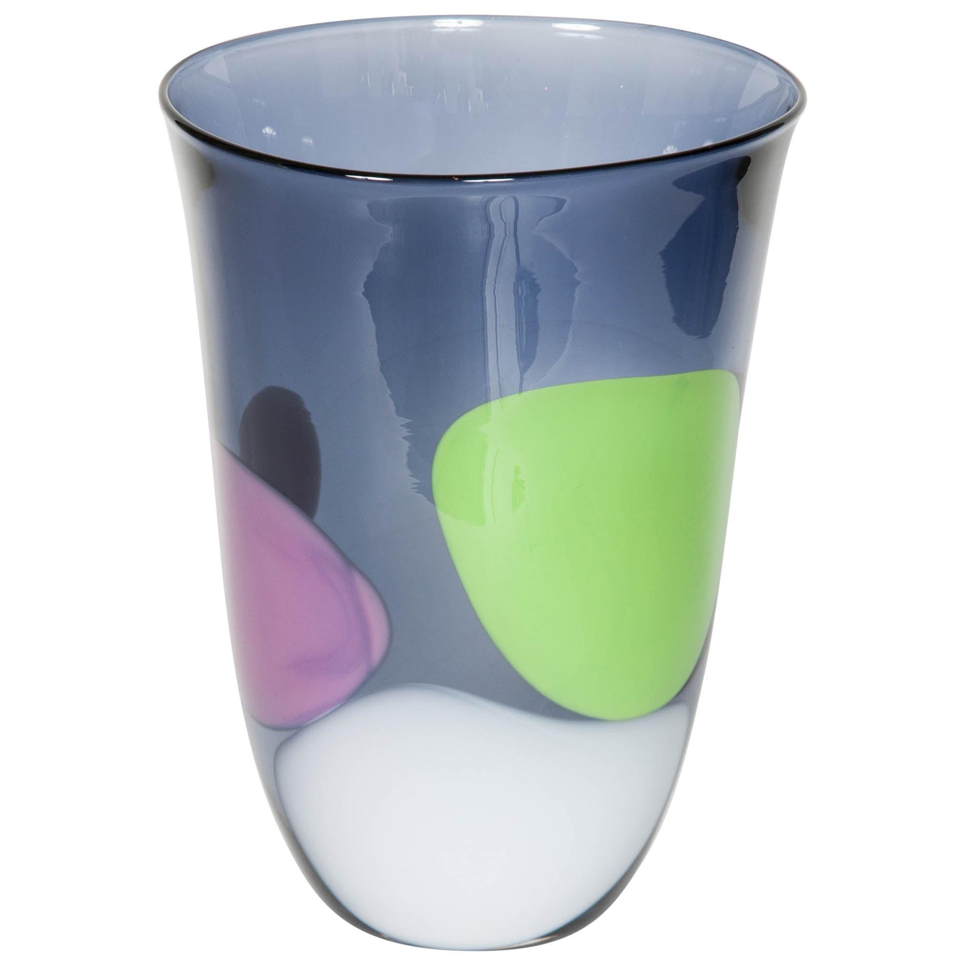 Cunonia, a Unique steel blue, pink, green & white Glass Vase by Gunnel Sahlin