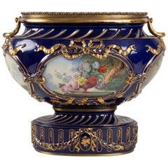 Cup, Epoque Napoleon III, Oval Shape, 4 Cartridges Paint Bouquets of Flowers