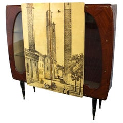 Cupboard in the Style of Featuring the Medieval Twin Towers of Bologna