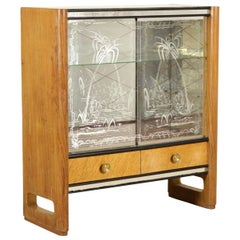 Cupboard Maple Veneer Brass Glass Vintage, Italy, 1950s