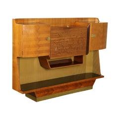 Cupboard Teak Veneer Brass Vintage, Italy, 1950s