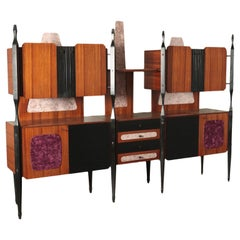 Cupboard Veneered Wood Ebony Stained Wood Brass Fabric, Italy, 1960s