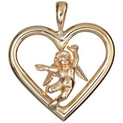 Cupid Angel Heart Pendant Charm Estate 14 Karat Yellow Gold Love Vintage Jewelry