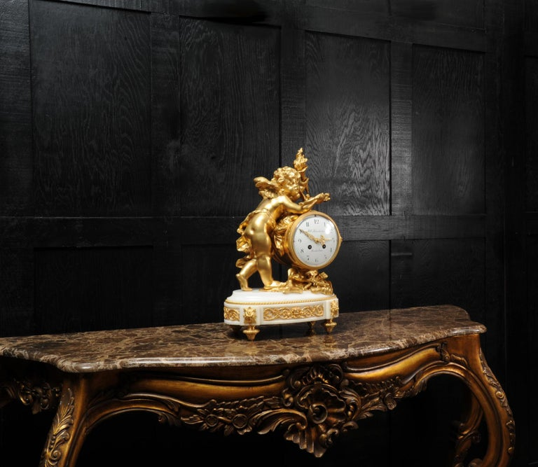 Cupid - Antique French Ormolu Bronze and White Marble Clock For Sale 6