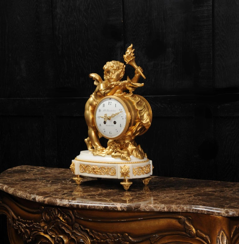 Cupid - Antique French Ormolu Bronze and White Marble Clock For Sale 7
