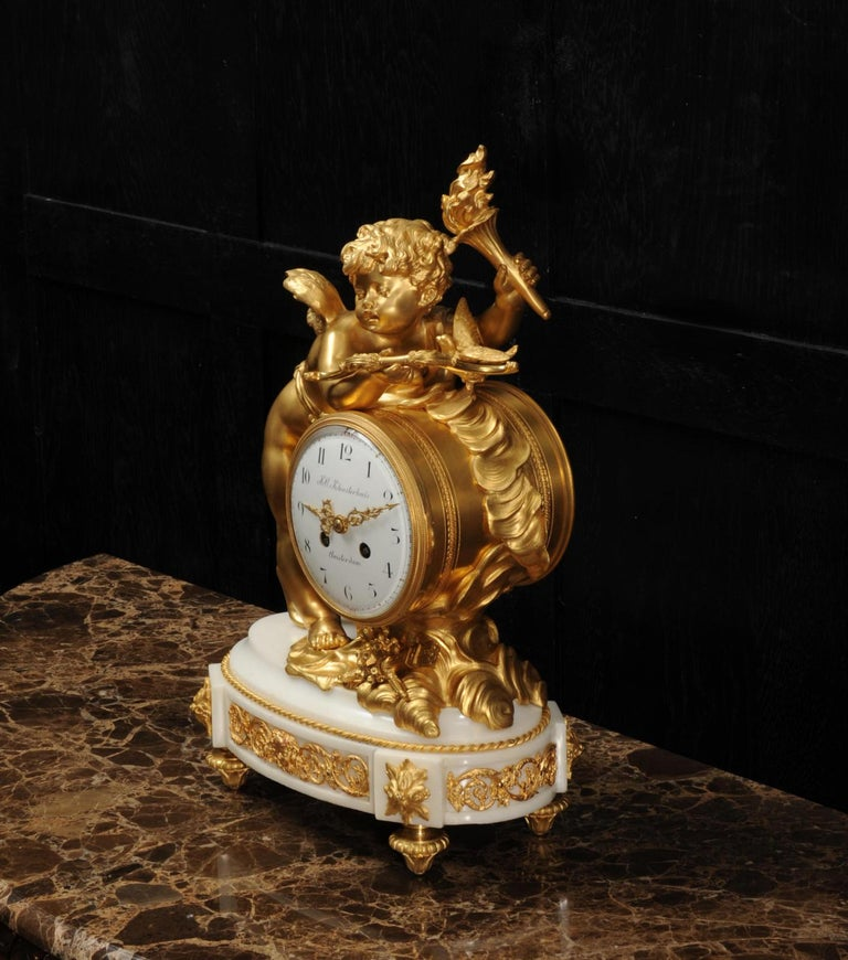 Cupid - Antique French Ormolu Bronze and White Marble Clock For Sale 8