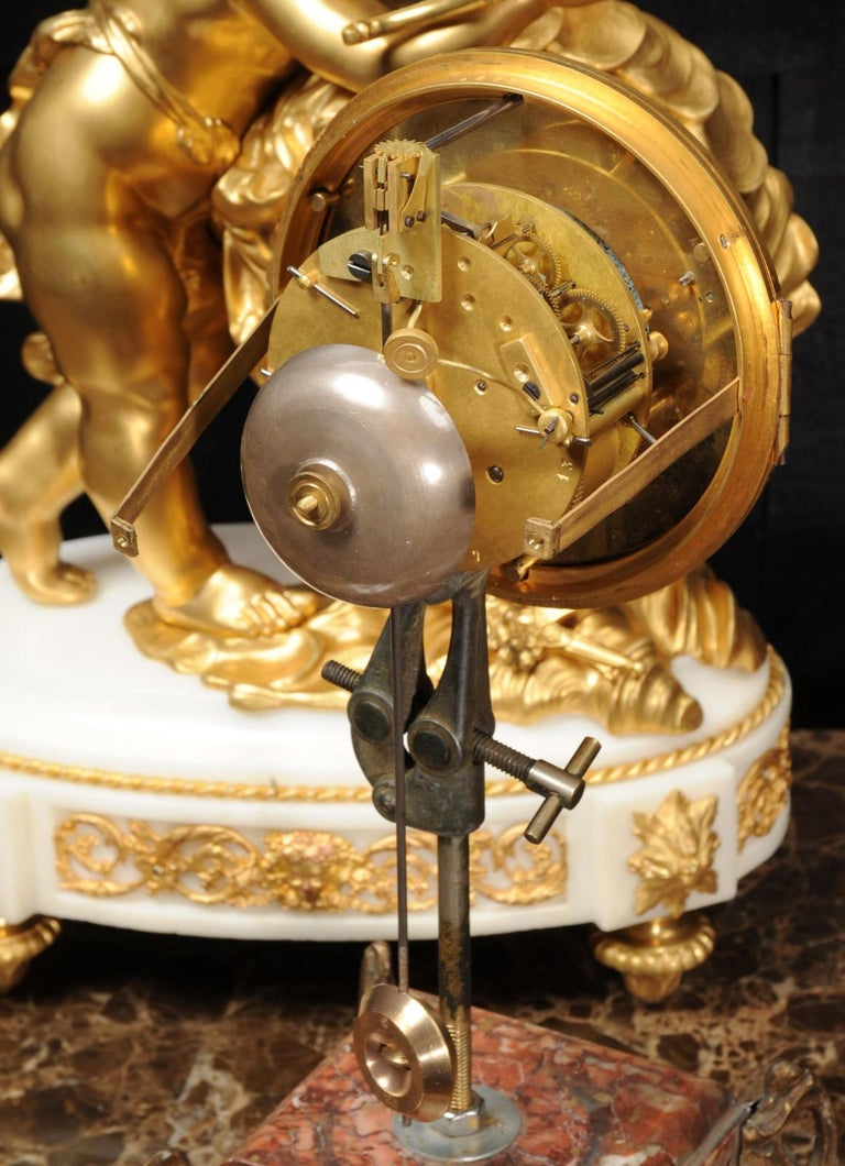 Cupid - Antique French Ormolu Bronze and White Marble Clock For Sale 10