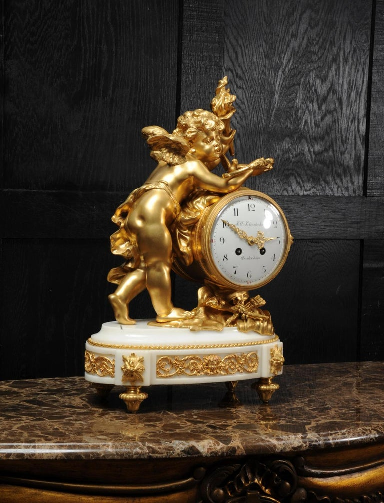 Rococo Cupid - Antique French Ormolu Bronze and White Marble Clock For Sale
