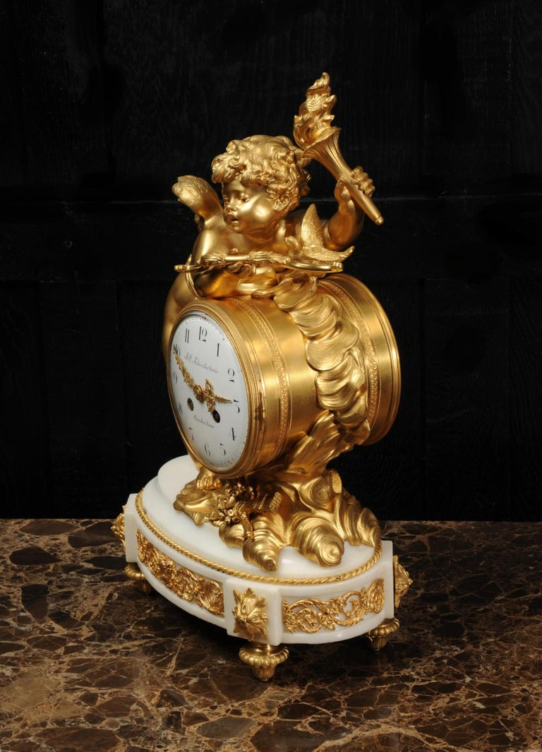 19th Century Cupid - Antique French Ormolu Bronze and White Marble Clock For Sale