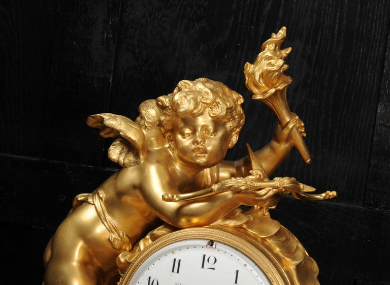 Cupid - Antique French Ormolu Bronze and White Marble Clock For Sale 1