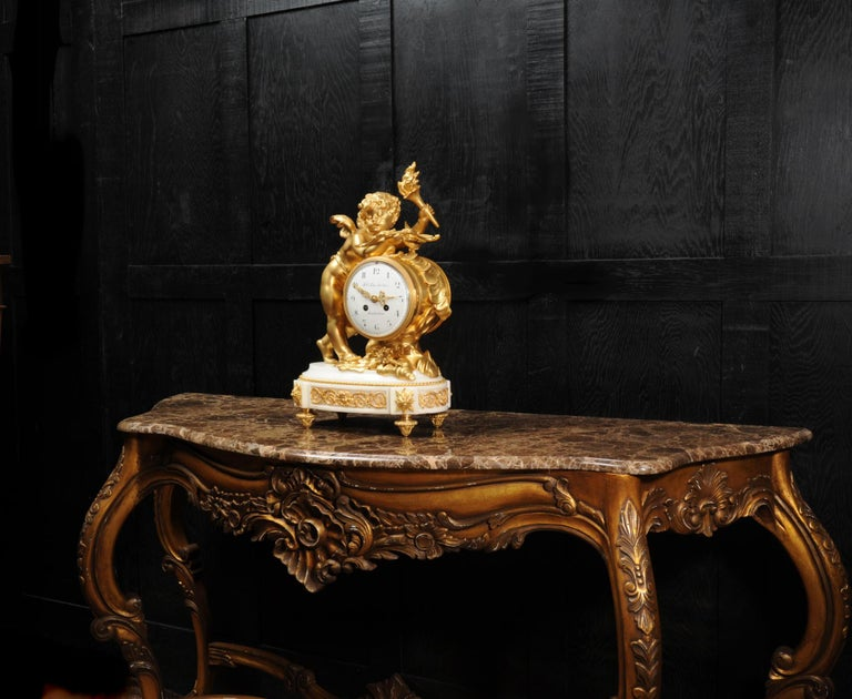 Cupid - Antique French Ormolu Bronze and White Marble Clock For Sale 2