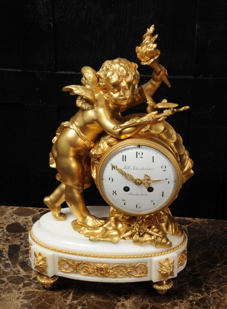 Cupid - Antique French Ormolu Bronze and White Marble Clock For Sale 3