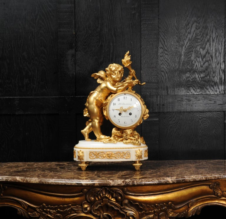 Cupid - Antique French Ormolu Bronze and White Marble Clock For Sale 4