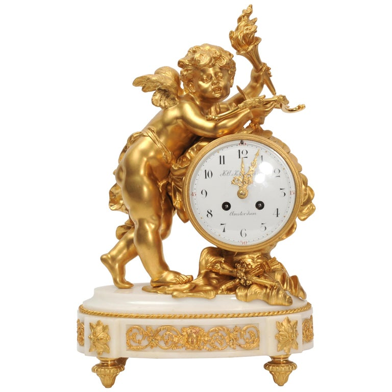 Cupid - Antique French Ormolu Bronze and White Marble Clock For Sale