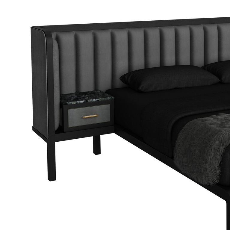 British Cupid Bed II with Show-wood & Novasuede with Integrated Bedside Table For Sale