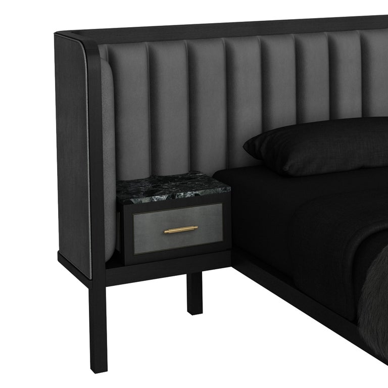 Contemporary Cupid Bed II with Show-wood & Novasuede with Integrated Bedside Table For Sale