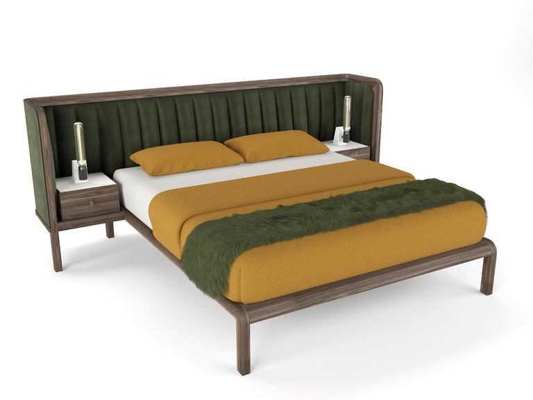 British Cupid Double Bed in Black American Walnut & Velvet with Integrated Bedside Table For Sale