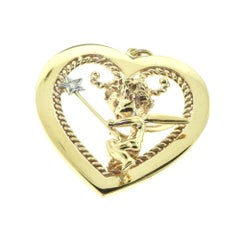 """""""Cupid in a Heart"""" Heart Shaped Diamond in Yellow Gold Pendant"""