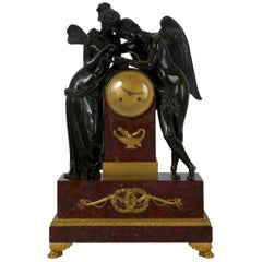 """Cupid & Psyche"" French Empire Bronze Sculpture Mantel Clock, circa 1815"