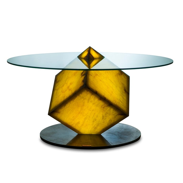 Cupiditas Contemporary Design Dining Table, Marble, Glass, LED Lights For Sale 7