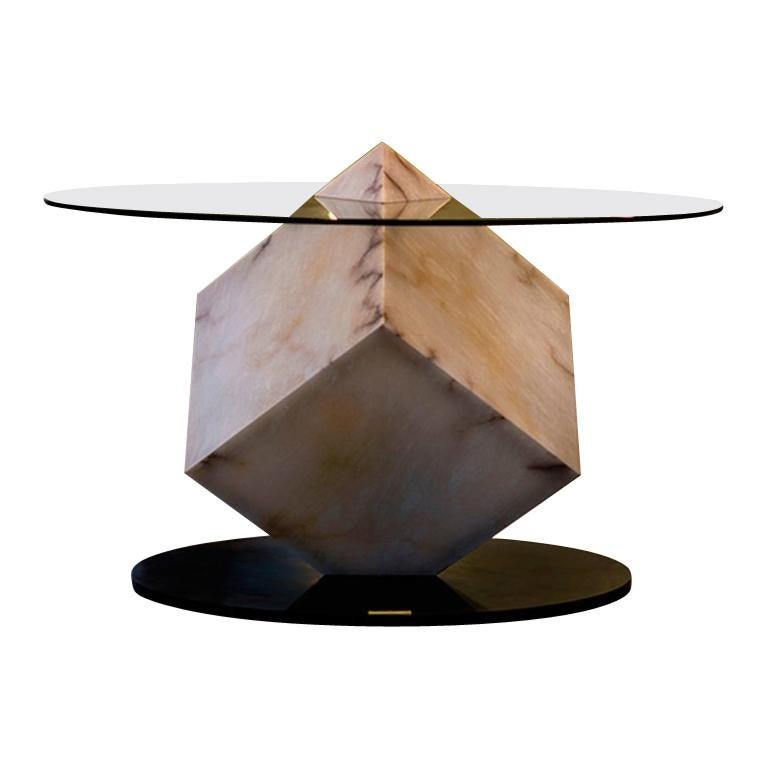 Cupiditas Contemporary Design Dining Table, Marble, Glass, LED Lights For Sale