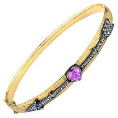 Cupids Arrow 18k Gold Bracelet with Sapphire and Diamonds