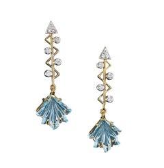 Cupid's Arrow Leaf Carved Blue Topaz Earrings with Diamonds 14 Karat Yellow Gold