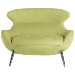 Curacao Armchair in Fabric with Chrome Finish Metal Legs by Roberto Cavalli