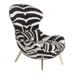 Curacao Bergère Armchair in Fabric with Metal Legs by Roberto Cavalli